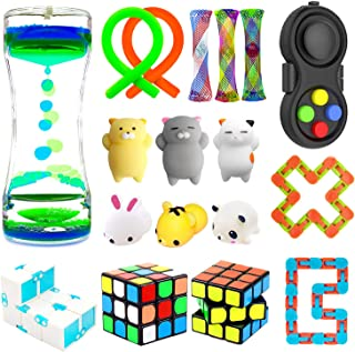 H-Partner Relieves Stress and Increase Focus Bundle Sensory Twisted Squeeze Fidget Toys Set- Fidget Chain/Cube Infinity Magic Cube/Ball Liquid Motion Timer Ferrofluid Bottle (15 PACK)