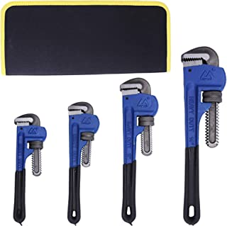 4 Pack Set Heavy Duty Pipe Wrench Set Heat Treated Adjustable 8, 10, 12, 14 Inches Soft..