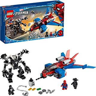 LEGO Marvel Spider-Man Spider-Jet vs Venom Mech 76150 Superhero Gift for Kids with Minifigures, Mech and Plane (371 Pieces)