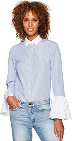 Long Flounced Sleeve Button Down Shirt