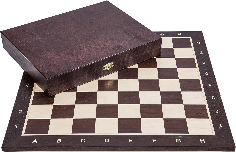Square - Pro Schach Set Nr. 5 - WENGE LUX - Schachbrett + Schachfiguren Staunton 5 + Kasten - Schachspiel aus Holz