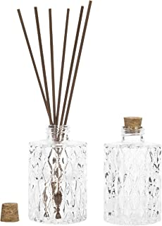 MyGift Vintage Diamond-Faceted Glass Diffuser Bottles with Cork Lids, Set of 2