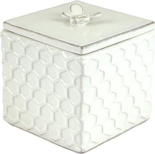 Bee Honeycomb Embossed Ceramic Trinket Box with Lid