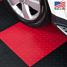 ModuTile Garage Flooring Interlocking Tiles, Diamond Top, Red, 27 Pack
