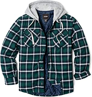 CQR Men's Hooded Quilted Lined Long Sleeve Shirt Jacket