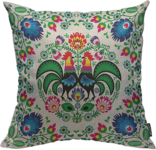 Mugod 波兰花朵抱枕套波兰花卉民间艺术广场图案带公鸡装饰方形枕头套家用卧室客厅靠垫套 18x18 寸