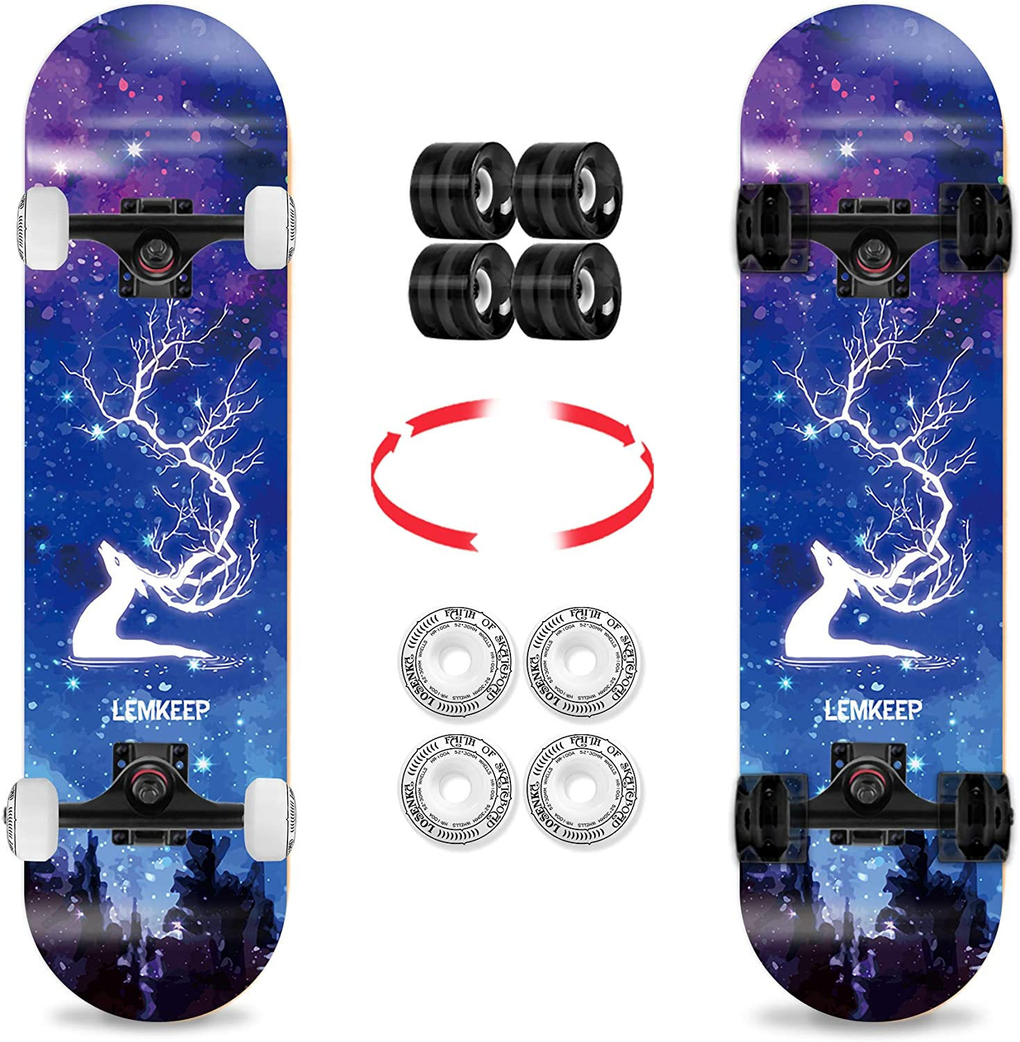 LOSENKA 31 Pro Complete Skateboard with 2 Sets Wheels,7 Layer Canadian Maple Double Kick Deck Concave Board with Tool for Beginners and Pro