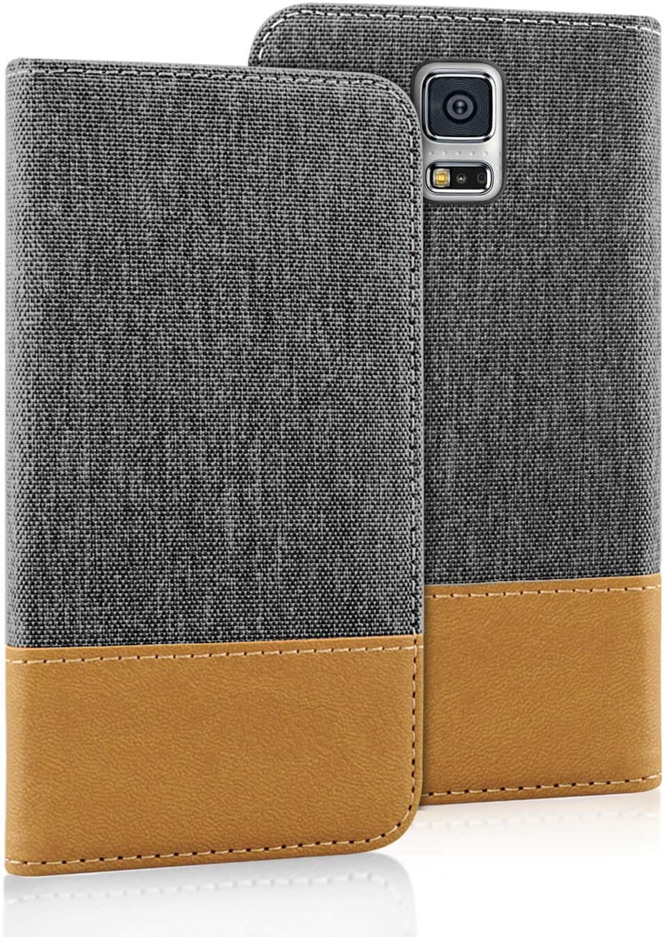 Leather Case for Samsung Galaxy S5 Mini Tough Wallet Model Navy Blue