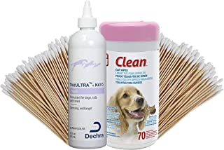 Dog Ear Cleaner Value Pack - TrizULTRA + Keto Flush 12oz with 70 Dog Ear Wipes and 100 6