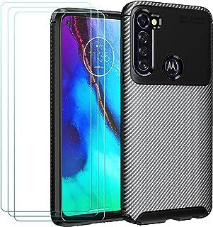 ivoler fodral till Motorola Moto G Pro + 3-pack skärmskydd i härdat glas, kolfiber design stötdämpande stötskydd, smal mju...