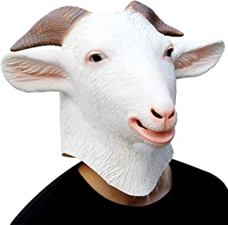 CreepyParty Deluxe Halloween Costume Party Latex Animal Head Mask Goat White