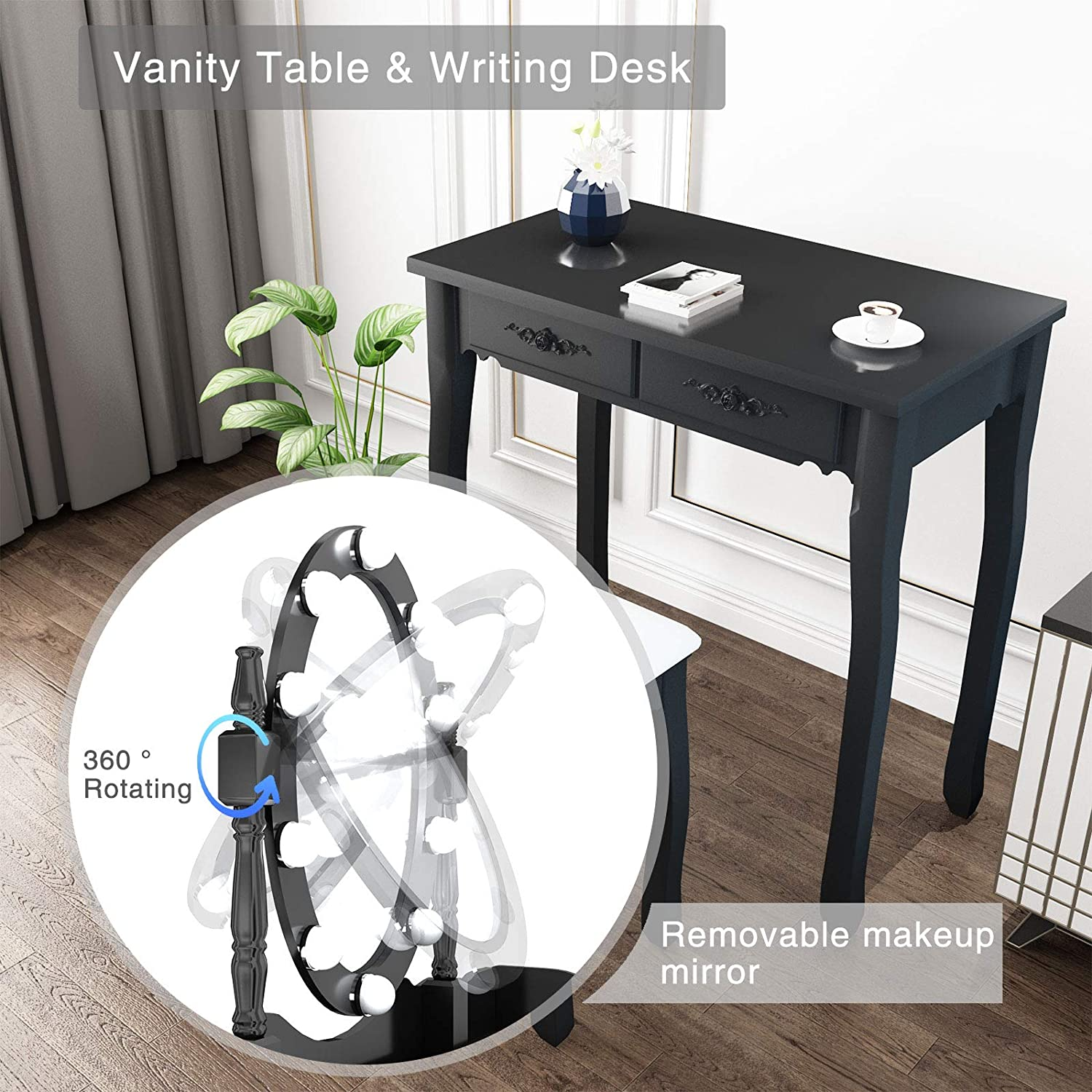 Modern Vanity Makeup Table with 4 Large Drawers and Cushioned Stool Women Bedroom for Girls mecor Dressing Table Set 10 LED Light with Adjustable Mirror White Makeup Vanity Table-4 drawers