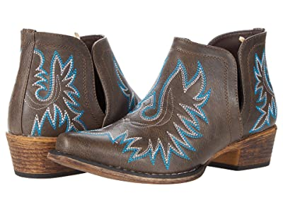 Roper Ava (Brown Faux Leather/Embroidered Shaft) Cowboy Boots