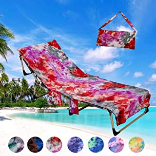 PJSNEW Beach Chair Cover, Microfiber Chaise Lounge Towel Cover with Storage Pockets for Pool Sun Lounger Hotel Garden Blue Tie-Dye
