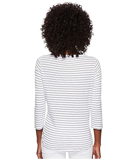 Discount Visit New Three Dots Big Sur Stripe Tie Front Tee White Cheap Wholesale fHOr7X8ze