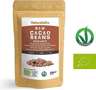 Granos de Cacao Crudo Ecológico 200g   100 % Bio, Natural y Puro   Cultivado en Perú a partir de la planta Theobroma cacao   Superalimento rico en antioxidantes, minerales y vitaminas   NATURALEBIO