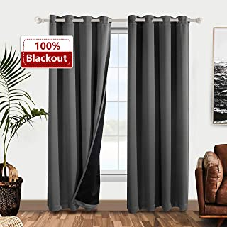 WONTEX 100% Blackout Curtains for Bedroom - Thermal Insulated Window Curtain Panels with Black Liner Backing, Noise Reducing and Sun Blocking Curtains for Living Room, Grey, 52 x 63 inch, Set of 2