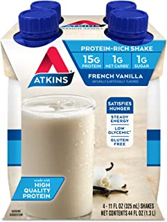 Atkins Gluten Free Protein-Rich Shake, French Vanilla, Keto Friendly, 4 Count (Pack of 1)