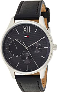 Tommy Hilfiger Men's Quartz Watch, Analog Display and Leather Strap 1791417, Black Band