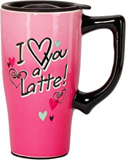 Spoontiques 11985 I Love You a Latte Ceramic Travel Mug, Pink