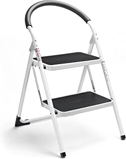 Delxo 2 Step Stool Folding Step Stool Steel Stepladders with Handgrip Anti-Slip Sturdy..