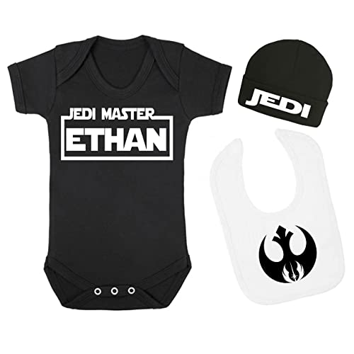 349e0217 Personalised Jedi Master Star Wars Baby Vest Hat and Bib Set Baby Shower  Gift Novelty Baby