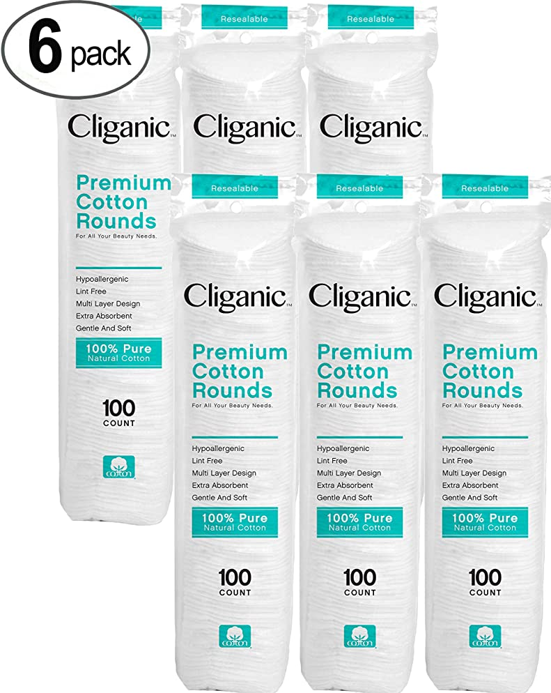 Cliganic Premium Cotton Rounds for Face (600 Count)   Makeup Remover Pads, Hypoallergenic, Lint-Free   100% Pure Cotton