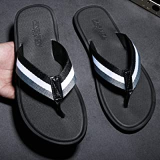 Fashion Summer Men's Rubber Slippers, Men's Handmade Slippers, Comfortable and Breathable Beach Classic Casual Flat Shoes,...