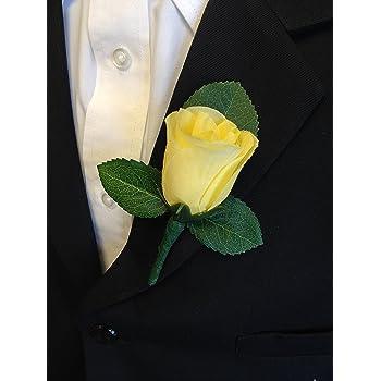 "Millinery Flower Velvet Yellow Rose 2/"" for Boutonniere Hat Wedding or Hair KM3B"
