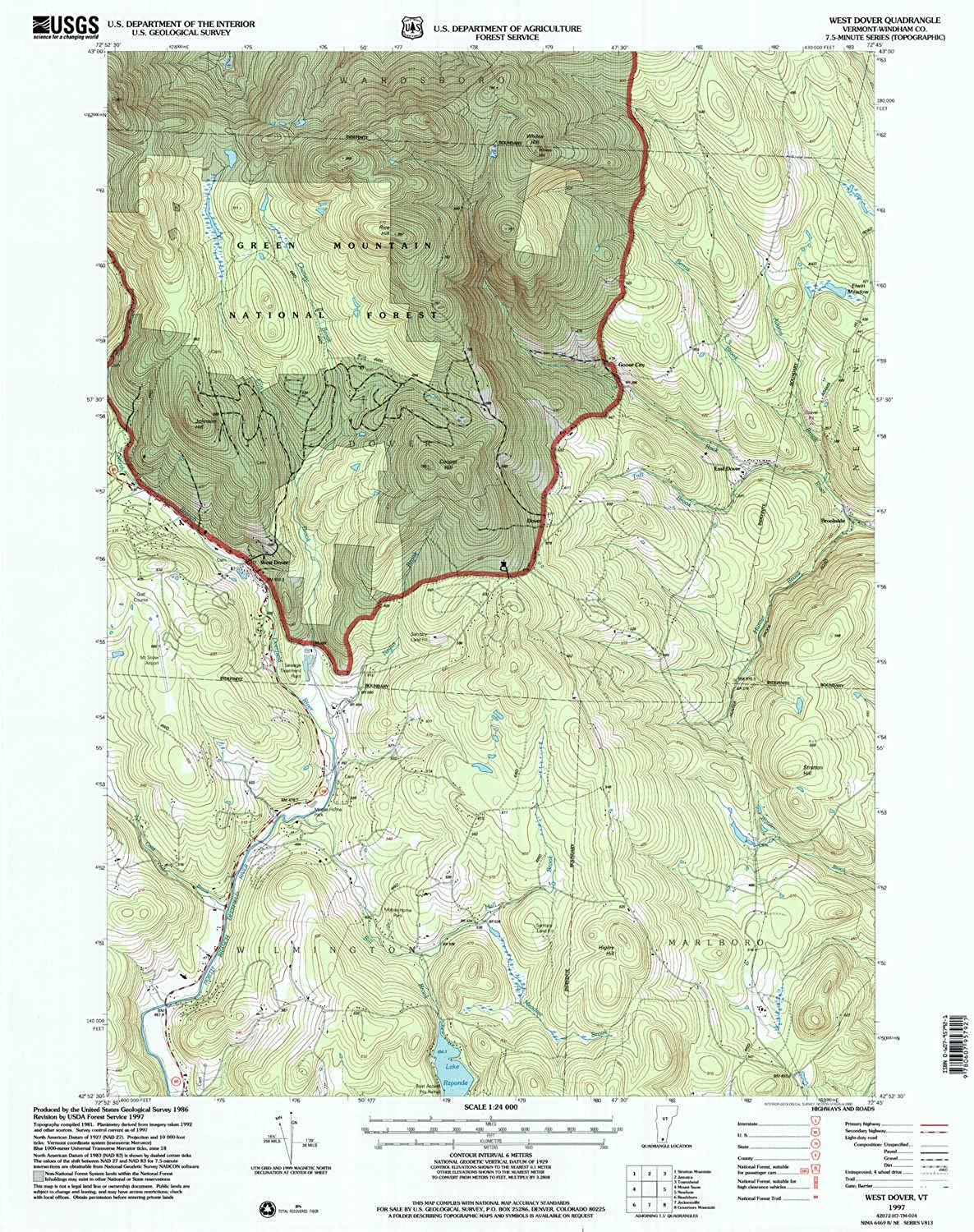 West Dover VT topo map, 1 24000 Scale, 7.5 X 7.5 Minute, Historical, 1997, Updated 2000, 26.9 x 22 in