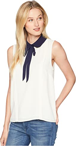 Sleeveless Collared Blouse with Neck Tie