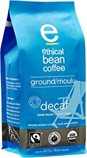 Ethical Bean Fair Trade Organic Coffee, Decaf Dark Roast, Ground Coffee - 227g Bag