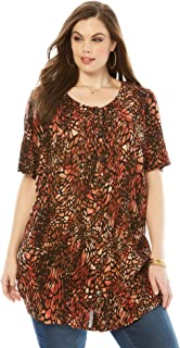 Roamans Women's Plus Size Angelina Tunic in Crinkle Crepe
