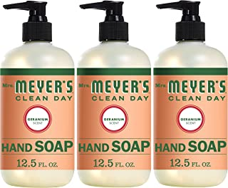 Mrs. Meyer's Clean Day Liquid Hand Soap, Cruelty Free and Biodegradable Formula,Geranium Scent, 12.5 oz- Pack of 3