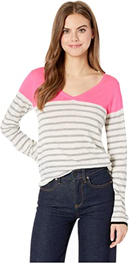 Cashmere Striped Long Sleeve V-Neck Sweater