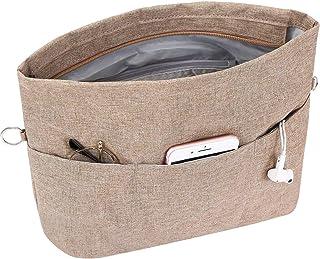 SHINGONE Oxford Handbag Purse Organizer Insert with 12 Pockets, Lightweight Cosmetic Travel Tote Bag Insert Organizer with Zipper, Brown