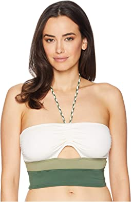 Sun Block Bandeau Crop Top w/ Braided Ties and Removable Soft Cups