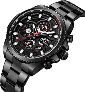 Sponsored Ad - Watch Men Casual Stylish Stainless Steel Watch Waterproof Black Multifunctional Watch for Men