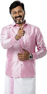 RIRO Men's Plain Silk Cotton Regular Fit Formal/Traditional/Ceremony/Casual/Business/Plain Full Sleeve Shirts (Focus Shirt...
