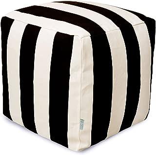 Majestic Home Goods Black Vertical Stripe Indoor / Outdoor Bean Bag Ottoman Pouf Cube 17