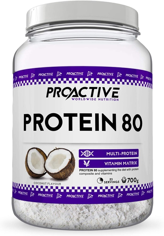 ProActive Worldwide Nutrition, Mezcla de proteinas 80 (Muchos sabores, muy bien absorbidos.) 700g/2250g (Vainilla de fresa, 700g)
