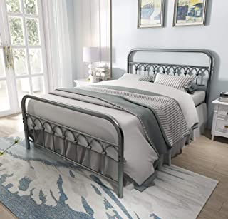 Vintage Sturdy Full Size Metal Bed Frame with Headboard and Footboard Basic Bed Frame No Box Spring Needed (Full, Gray Silver)