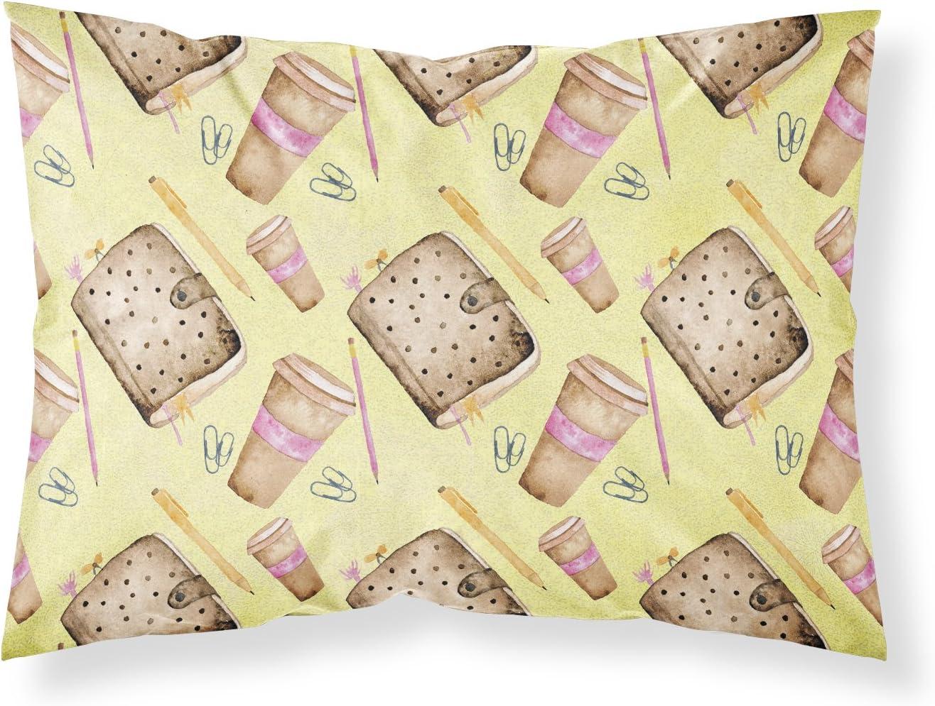 Caroline's Treasures BB7537PILLOWCASE Watercolor Coffee and Journal Fabric Standard Pillowcase, Standard, Multicolor