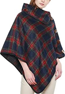 APPARELISM Women's Plaid Turtle Neck Collar Pullover Cape Ruana Top with Button Buckle.