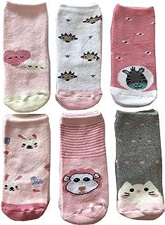 Baby Cotton Socks, 6 pares de calcetines antideslizantes de algodón de colores suaves y cálidos y originales
