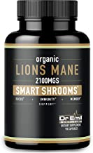 Organic Lions Mane Mushroom Capsules - Maximum Dosage + Absorption Enhancer - Nootropic Brain Supplement and Immune Support (100% Pure Lions Mane Extract)