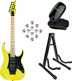 Ibanez RG550 Genesis Collection RG Electric Guitar (Desert Sun Yellow) with Front Row Guitar Stand, tuner and pick sampler