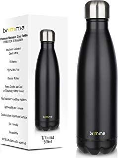 Brimma Vacuum Insulated Water Bottle - Double Wall Stainless Steel Travel Bottle for Hot & Cold Drinks - No Sweat, Leak Proof, BPA Free Thermos Flask - 17 Oz (500 ml)