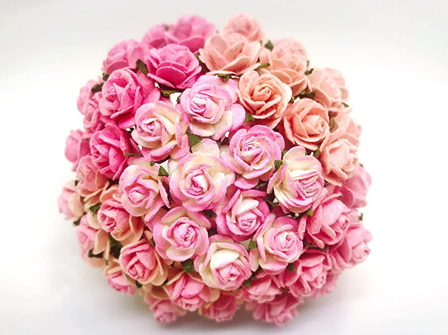 Tyga_Thai Brand 50 pcs. Mixed Tone Pink Color Rose Mulberry Paper Flower Craft Handmade Wedding 15 mm Scrapbook for so Many Card & Craft Projects (MULBERRY-PAPAER-ROSE-15MM)