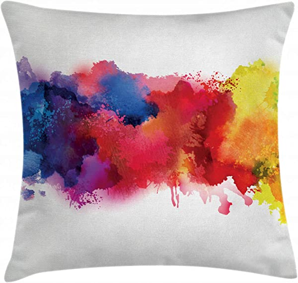 Ambesonne Abstract Throw Pillow Cushion Cover Vibrant Stains Of Watercolor Paint Splatters Brushstrokes Dripping Liquid Art Decorative Square Accent Pillow Case 18 X 18 Inches Red Yellow Blue